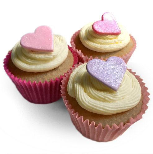 Shimmer Pink Lilac Heart Edible Sugarcraft Icing Toppers