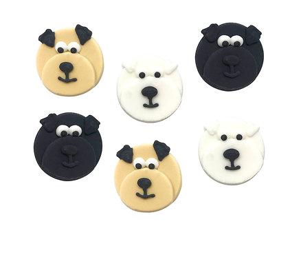 Cute Dog Faces Edible Sugarcraft Icing Cake Decorations