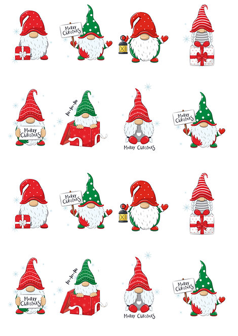 16 Stand Up Cute Christmas Gnome Themed Cake Toppers Decorations