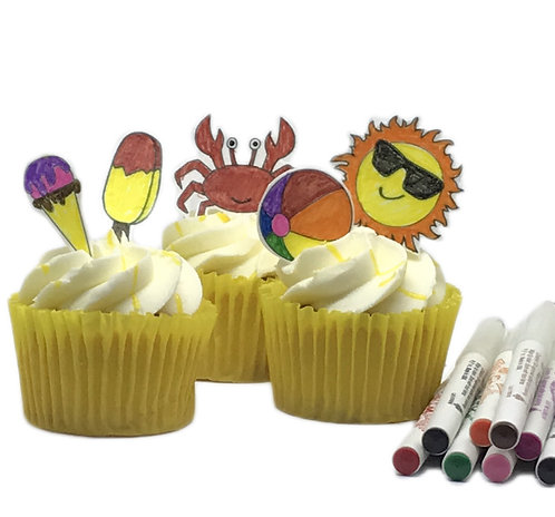 Summer Beach Theme Colouring Pack Edible Wafer & 10 Foodoodler Pens