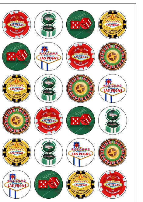 24 Las Vegas Casino Poker Chips Pre-Cut Thin Edible Wafer Paper