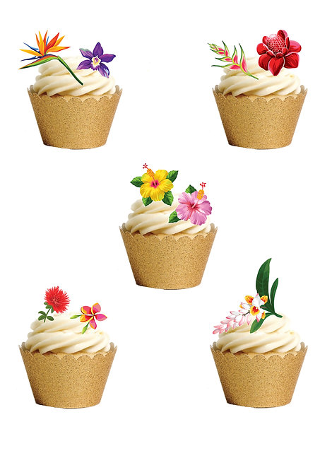 33 Mixed Tropical Flowers Cake Toppers Edible Thin Wafer Paper