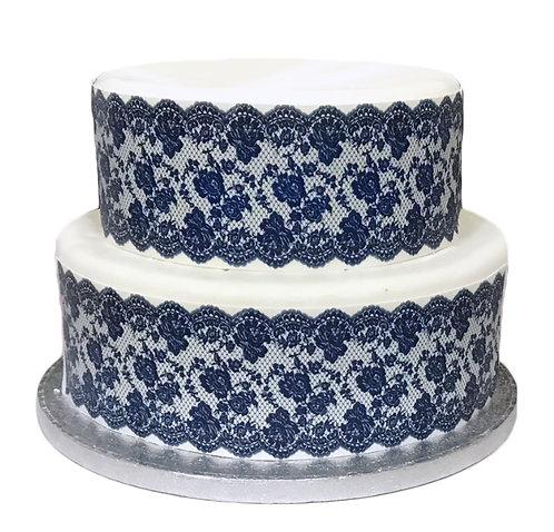 Navy Lace Borders Decor Icing Sheet Cake Decoration