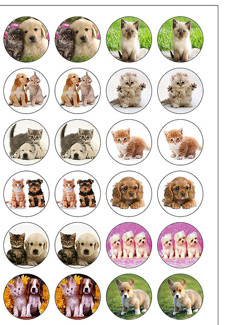24 Puppies and Kittens Pre-Cut Thin Edible Wafer Paper