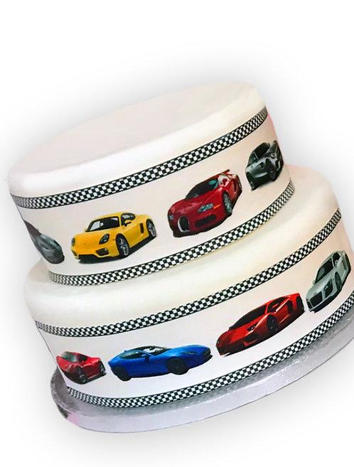 Fast Sports Cars Border Decor Icing Sheet Cake Decoration