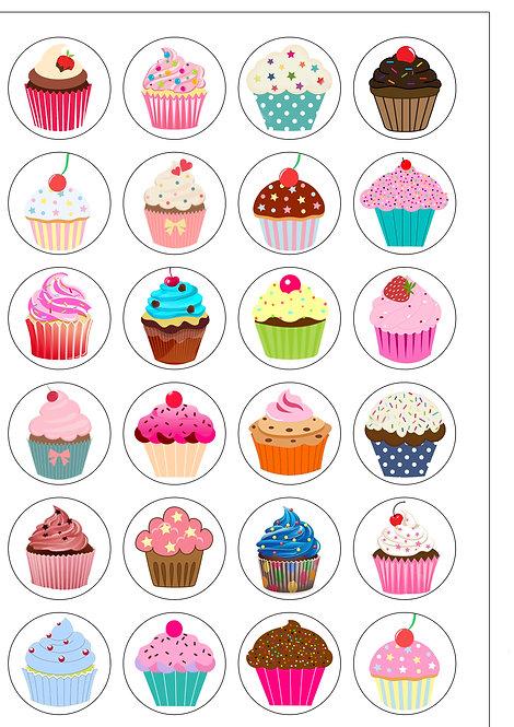 24 Cute Cupcake Clip-Art Pre-Cut Thin Edible Wafer Paper