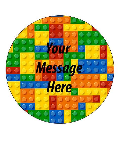 Colourful Blocks Bricks PERSONALISED MESSAGE 7.5 Inch Circle Decor Icing Sheet