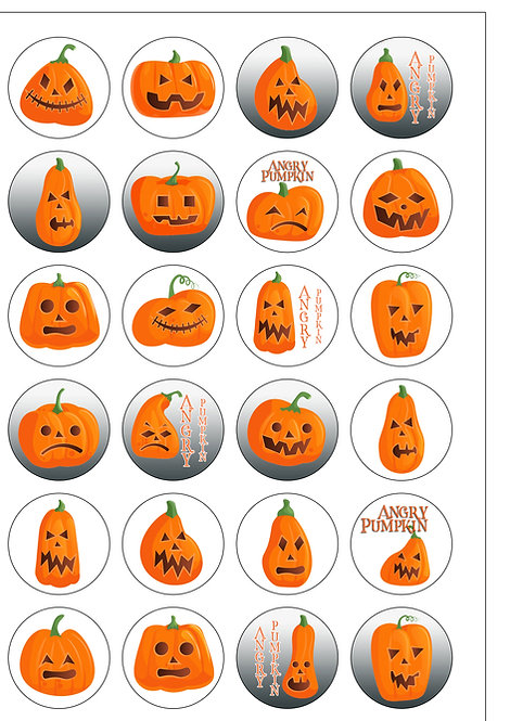 24 Precut Halloween Angry Pumpkin Edible Wafer Paper Cake Toppers