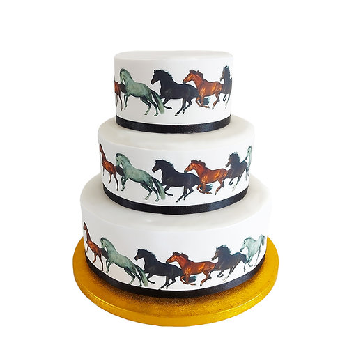 Galloping Horses Ponies Border Decor Icing Sheet Cake Decoration