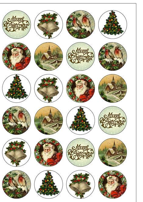 24 Victorian Christmas Pre-Cut Thin Edible Wafer Paper