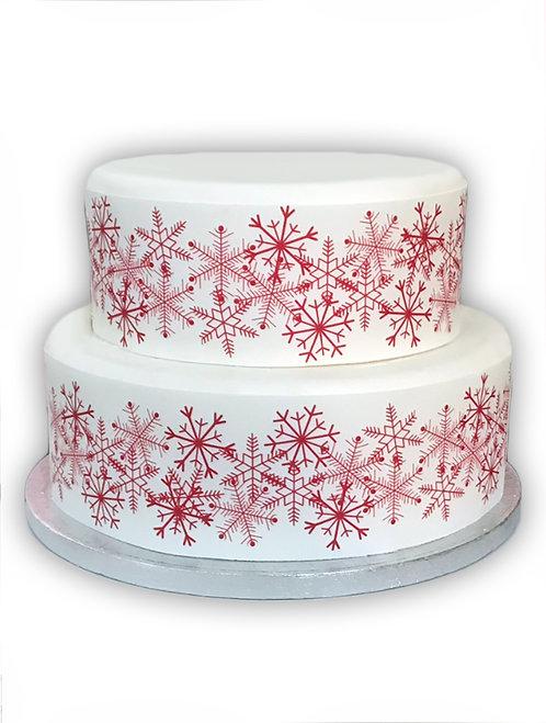 Red Snowflake Christmas Border Decor Icing Sheet Cake Decoration