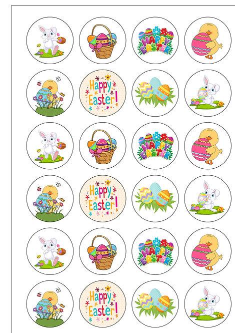 24 Cute Easter Clip-Art Pre-Cut Thin Edible Wafer Paper