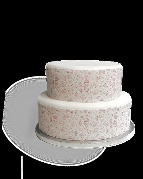 Pink Princess Pattern Themed Border Edible Decor Icing Sheet Cake Decoration