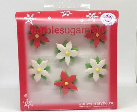 Christmas Poinsettia Edible Sugarcraft Icing Cake Decorations