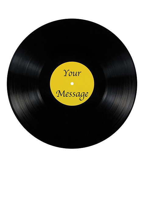 Record Disc Album Design PERSONALISED MESSAGE 7.5 Inch Circle Decor Icing Sheet