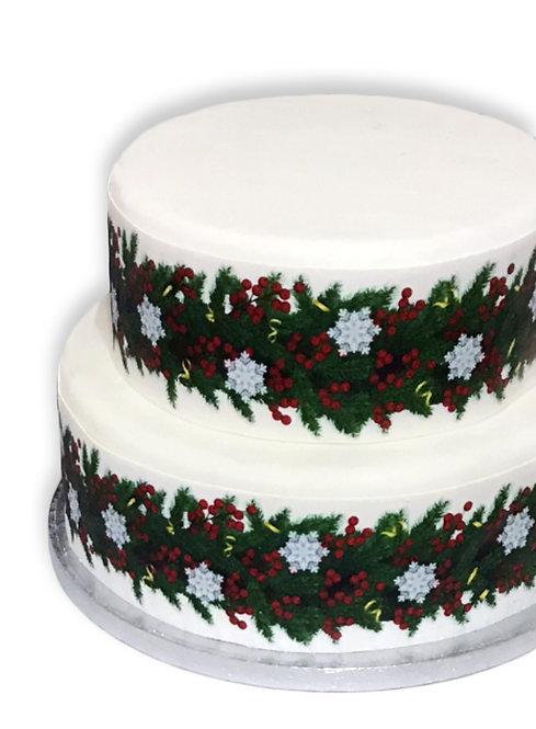 Christmas Berry & Snowflake Borders Decor Icing Sheet Cake Decoration