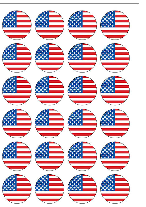 24 USA American Stars and Stripes Flag Pre-Cut Thin Edible Wafer Paper