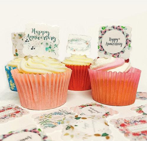 24 SQUARE Pre Cut Scalloped General Happy Anniversary Edible Wafer Paper