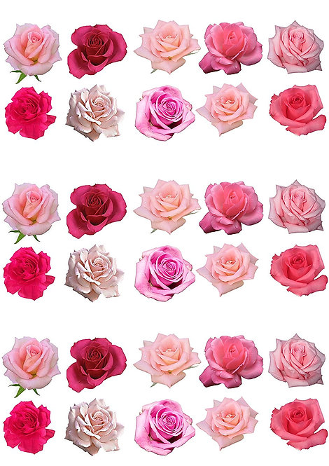 30 Mixed Pink Rose Flower Toppers Edible Thin Wafer Paper