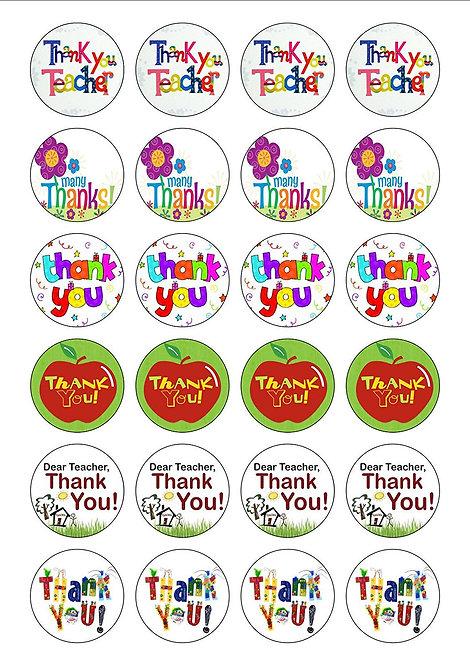 24 Thank You Teacher Pre-Cut Thin Edible Wafer Paper