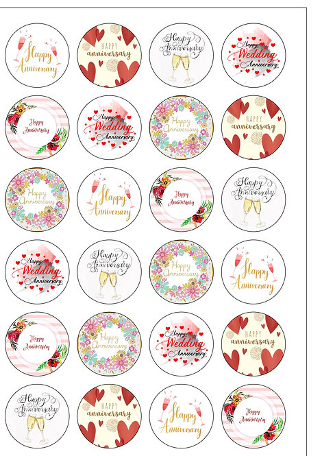 24 pre cut any Anniversary wafer paper Cake toppers