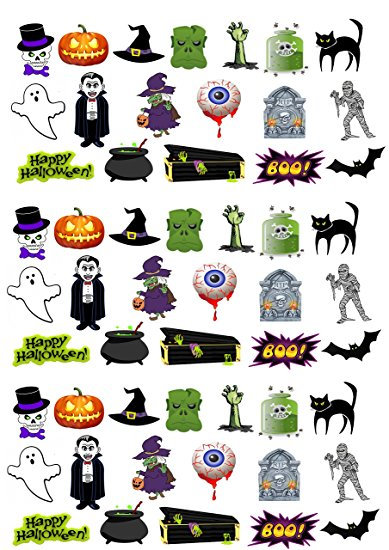 54 Stand Up Edible Wafer Paper Mixed Halloween Toppers