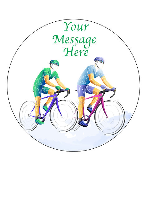 Cycling Bike Bicycle Sport PERSONALISED MESSAGE 7.5 Inch Circle Decoration