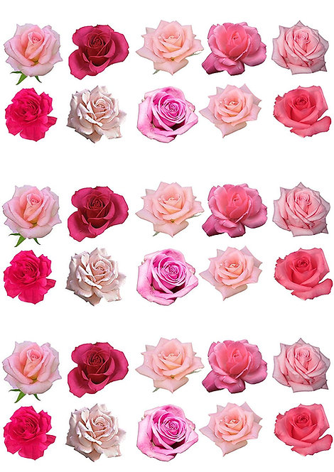 30 Mixed Rose Decor Icing Sheet