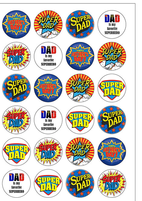 24 Happy Father's Day Superdad Dad Daddy Pre-Cut Thin Edible Wafer Paper