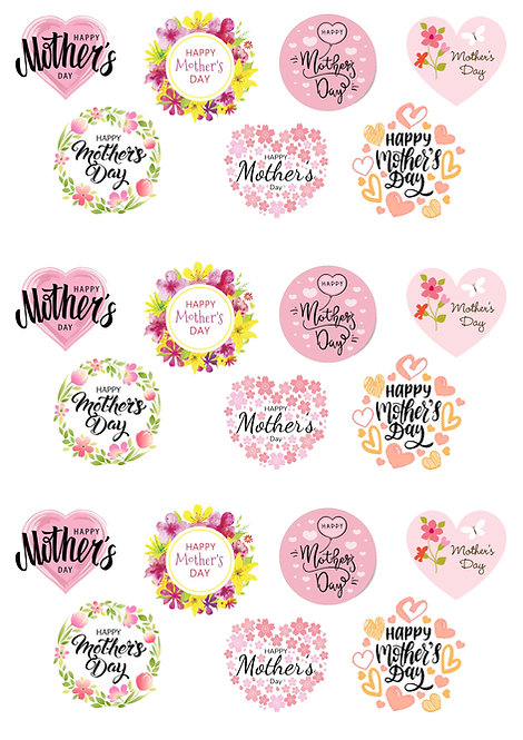 21 Stand Up Edible Wafer Paper Floral Happy Mother's Day Words Cake Toppers