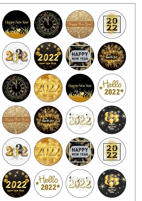 24 Happy New Year 2022 Pre-Cut Edible Wafer Paper Cake Toppers