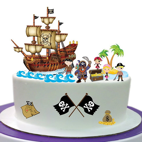 Pirate Scene Edible Wafer Paper Cake Topper Decoration - Easy to Use