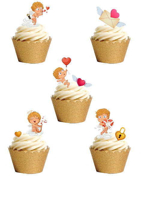 39 Stand Up Edible Wafer Paper Cute Cupid Valentine Love Toppers