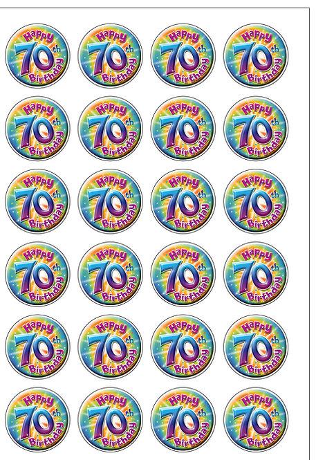 24 Age 70 SEVENTY Birthday Pre-Cut Thin Edible Wafer Paper