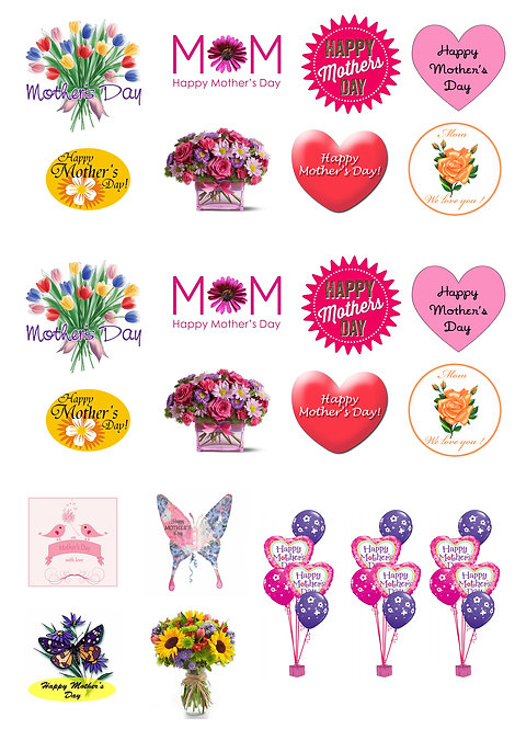 23 Stand Up Edible Wafer Paper Mother's Day Flowers Toppers