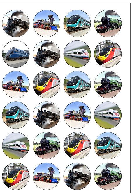 24 Steam Trains Pre-Cut Thin Edible Wafer Paper
