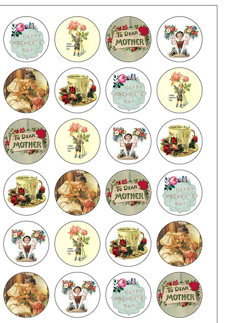 24 Vintage Victorian Happy Mother's Day Pre-Cut Thin Edible Wafer Paper