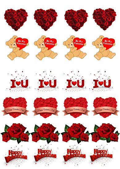24 Stand Up Edible Wafer Paper Valentine Love Teddy Bears Toppers