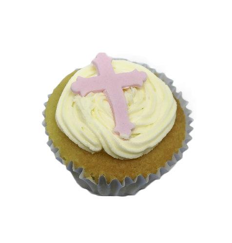 Pink Girl Christening Cross Edible Sugarcraft Icing