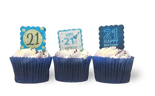 24 SQUARE Pre Cut Scalloped BLUE Happy 21st Birthday Edible Wafer Paper