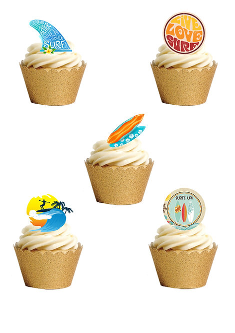 21 Surfing Sport Stand Up Edible Wafer Paper Cake Toppers