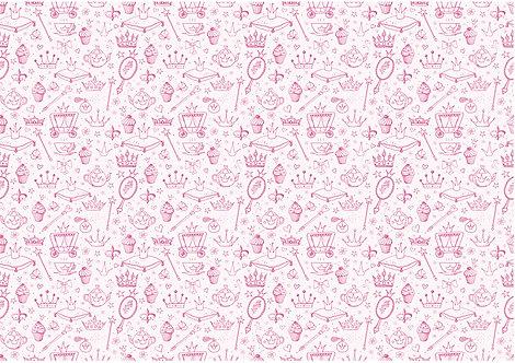 Pink Princess Theme Pattern Wallpaper Edible Decor Icing Sheet