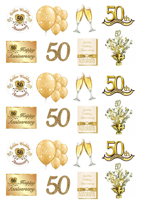 24 Stand Up Edible Wafer Paper 50th Golden Wedding Anniversary Toppers
