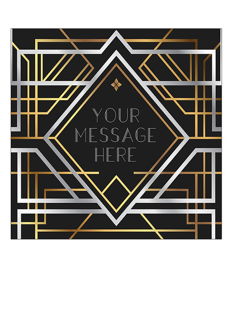 Art Deco Style PERSONALISED MESSAGE 7.5 Inch SQUARE Decor Icing Sheet Topper