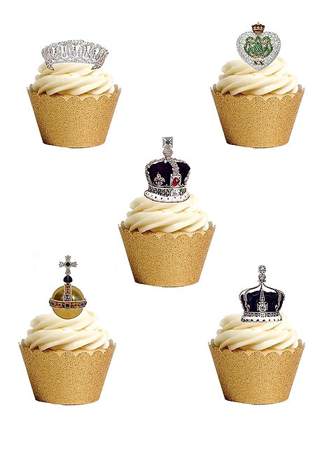 22 Stand Up Edible Wafer Paper Crown Jewels Toppers