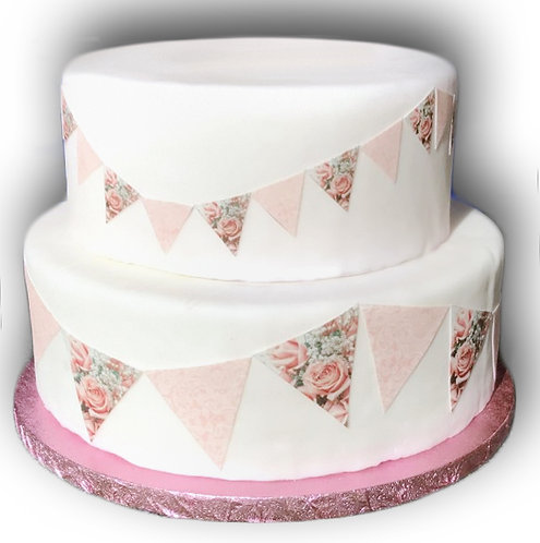 1 x A4 Pink Rose Flower Lace Bunting Decor Icing Sheet