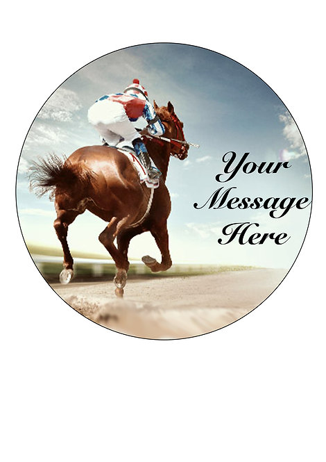 Horse Racing PERSONALISED MESSAGE 7.5 Inch Circle Decor Icing Topper