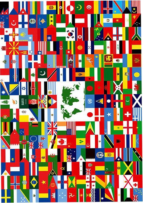 1 x A4 World Flags Wallpaper Decor Icing Sheet