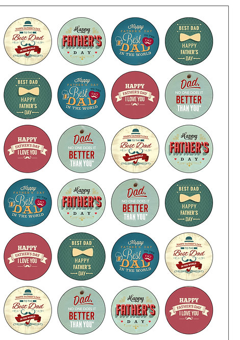 24 Vintage Happy Father's Day Dad Daddy Pre-Cut Thin Edible Wafer Paper