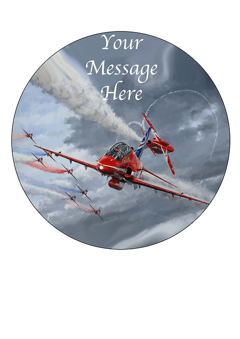 Red Arrows Jet Plane PERSONALISED MESSAGE 7.5 Inch Circle Decor Icing Topper